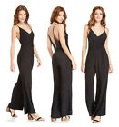 Ladies Glamorous Black Tie Waist Jumpsuit Belt Wide Leg V Neck Strappy 43% Silk