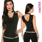 New Sexy Womens Diamante Glamour Top Size 8-10 Stylish Clubbing Evening Occasion
