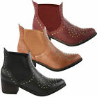 LADIES WOMENS WESTERN RIDING BIKER COWBOY ANKLE BOOTS SHOES LEATHER STYLE SIZE