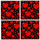 HEARTS - FUN SET OF NOVELTY COASTERS - SETS OF 4, 6 OR 8 - GIFT/ EASY CLEAN