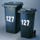 2 x 150mm or 175mm Wheelie Bin Numbers or Letters Decals + FREE P&P