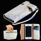 Unique ZIPPER PU Leather Flip Hard Card Holder Wallet Cover Case For iPhone 5 5s