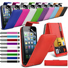 PU Leather Top Flip Case Skin Cover Pen+Film+Pen fits Apple iPhone 5s 5