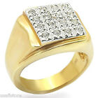 Mens Modern Shape 18kt Gold Plated Two Tone Fashion Ring