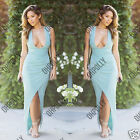 Womens Sexy Celeb Bodycon Low Plunge Prom Evening Gown Party Maxi Ladies Dress