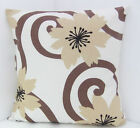 TRENDY NEW CREAM BEIGE LARGE BROWN FLOWERS SCATTER CUSHION COVERS