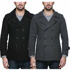 Men's Wool Classic Trench Winter Coat Pea Jacket Double Breasted Overcoat 010