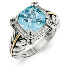 Sky Blue Topaz & Diamond Ring .925 Sterling Silver 0.1 Ct Size 6-8 Shey Couture