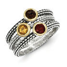 Multi Gemstone 3 Stackable Rings Sterling Silver & Gold Tone Sz 6-8 Shey Couture
