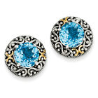 Blue Topaz Stud Post Earrings .925 Sterling Silver Antique Finish Shey Couture