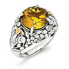 Citrine Flower Ring .925 Sterling Silver & 14K Gold Accent Size 6-8 Shey Couture