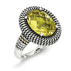 Lemon Quartz Ring .925 Sterling Silver & 14K Gold Accent Size 6 - 8 Shey Couture