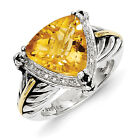 Citrine & Diamond Ring .925 Sterling Silver Antique 0.1 Ct Size 6-8 Shey Couture
