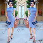 Womens Sexy Blue Ladies Party Bodycon Short Sleeve Evening Cocktail Pencil Dress