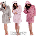 Womens/Ladies Animal Hooded Soft Fleece Dressing Gown/Bathrobe Size S, M, L