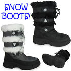 WOMENS LADIES BLACK GREY SNOW MOON WINTER WARM FUR WATERPROOF SOLES BOOTS 4-8