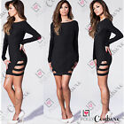 Womens Sexy Long Sleeve Black White Cocktail Party Clubbing Ladies Short Dress