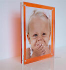 CHESHIRE ACRYLIC desk block orange 20mm MAGNETIC PICTURE PHOTO FRAME for a 7x5""
