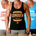 Men's CONQUER Gym Singlets Stringer Tank Bodybuilding Y-Back Racer T Back Muscle