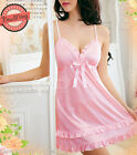 Pink Silky Satin Bow Chemise Nightie Nightwear Lingerie Nightdress Sleepwear New