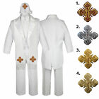 5-7pc White Baby Kid Boys Christening Formal Tail Tuxedo Suits Cross Hat Stole