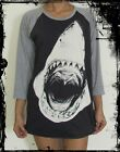Unisex Jaws Shark Raglan 3/4 Length Sleeve Baseball T-Shirt(Vest Tank)