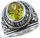 Army Yellow Simulated Topaz Military Rhodium Plated Ring