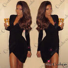 Womens Bodycon Black Long Sleeve Wrap Gathers Party Evening Prom Clubbing Dress