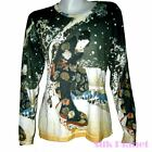 JAPANESE Hiroshige Geisha Snow Scene Garden Winter LS T SHIRT ASIAN ART PRINT