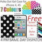 Polka Dot Soft Gel Case Cover Pouch Skin for Apple iPhone 5 Free SP + Stylus Pen