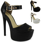 NEW WOMENS LADIES ANKLE STRAP PLATFORM HIGH STILETTO HEEL PUMPS COURT SHOES 3-8