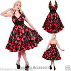 RKH83 Hearts and Roses H&R Love Hearts Halter Rockabilly Dress 50s Retro Plus