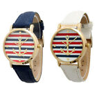 Fashion Women's Geneva Multi Color Striped Anchor Leather Watch Watches