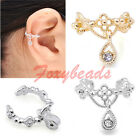 1X Punk Hollow Out Waterdrop Rhinestone Ear Cuff Wrap Cartilage Clip On Earring