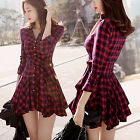 New Women's Ladies Retro Plaid Shirt Dress Long Sleeve Lapel V-Neck Belted Dress