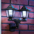 DOUBLE HEAD SOLAR WALL OR STAKE LIGHTS BLACK OR COPPER PORCH GARDEN WALKWAY