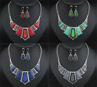 Womens Fashion Jewelry Crystal Necklace With Earrings Set Pendant Chain Choker