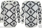 Ladies fluffy jumper Aztec print dress eyelash long sleeve sweater