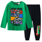 Boys Winter Long Cotton Set 2pc Pyjamas Pjs Green Ninja Turtles Sz 3 4 5 6 7