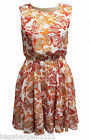 NEW LOOK RED ORANGE CREAM WHITE BUTTERFLY PRINT FLOATY CHIFFON SUMMER SUN DRESS