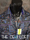 "Mens Button-Down Robert Graham Sport Shirt ""BLIND TIGER"" in Black & Blue"