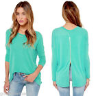 Womens Lady Zipper Back-Long Sleeve Casual Solid Loose Shirt Tops Blouse
