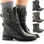 WOMENS LADIES FLAT LACE UP COMBAT MILITARY ARMY STYLE WORKER ANKLE BOOTS SIZE