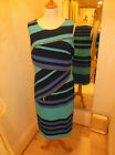 Frank Lyman Blue/Aqua Stripe Zip Detaill Dress 46576