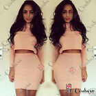 Womens Pink Top Skirt Two Piece Set Polo Neck Prom Bodycon Party Evening Dress