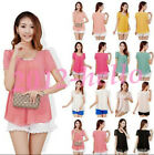 Korean Fashion Womens Ladies Loose Chiffon Tops Short Sleeve Shirt Casual Blouse