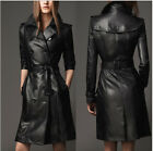 SEXY BLACK RIBBED PANEL PU LEATHER TRENCH RUNWAY WOMEN LONG COAT JACKET