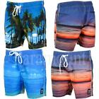 Crosshatch Beach View Print Summer Swim Shorts  Mens Size