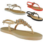 NEW WOMENS LADIES STRAP BUCKLE SLINGBACK TOE-POST FLAT SUMMER SHOES SANDALS SIZE