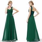 Long Chiffon Maxi Bridesmaid Wedding Prom Gown Evening Party Dress UK N48
